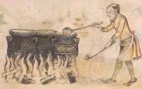 A man ladles porridge from a large pot over a fire