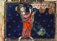 God creates the Sun and the Moon, in a medieval European painting