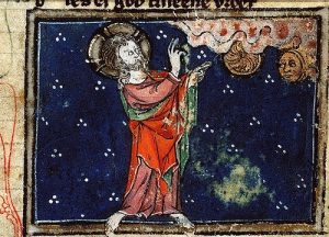 Creation: God creates the Sun and the Moon, in a medieval European painting