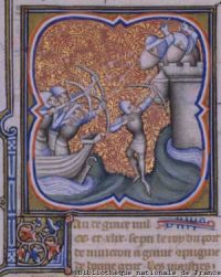 The siege of Damietta, in a medieval painting from a manuscript