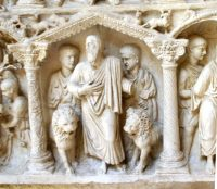 Daniel in the lion's den, from the sarcophagus of Junius Bassus, 359 AD in Rome