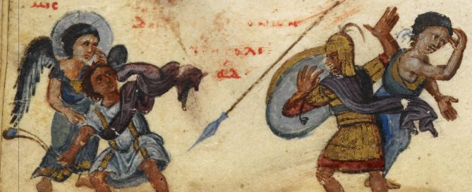 David uses his sling to throw a stone at Goliath, helped by angels.