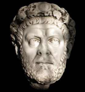 Diocletian: a white man with a short beard and an uncertain expression