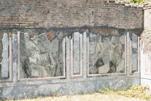 Here's a place where some of the marble is still in place on the wall.