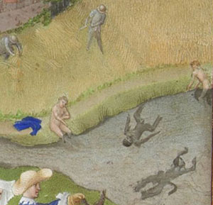 Men and women swim naked in a pond: medieval games
