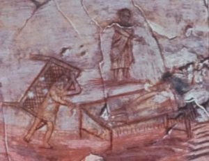 Wall painting illustrating an episode from the life of Jesus: showing a man standing, a man in bed, and a man carrying a bed on his back. - historical Jesus