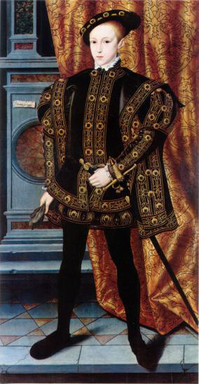 Edward VI: a boy standing in fancy tunic, shorts, and cape, with a sword