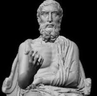A statue of Epicurus, carved later, long after he died.