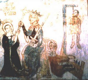 Esther and the hanging of Haman from the Danish church at Tirsted (1400 AD)