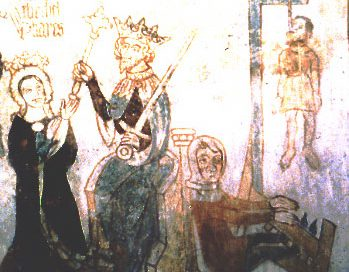 Esther and the hanging of Hamanfrom the Danish church at Tirsted (1400 AD)