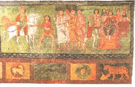 Mordecai is leading Esther (on the horse) to talk to the Persian king. A fresco from the world's oldest preserved synagogue at Dura-Europos in Syria (244 AD)