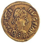 Gold coin minted by King Euric,with the name of the Roman Emperor on it
