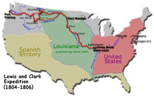 Map of the route taken by Lewis and Clark (thanks Wikipedia!)