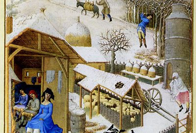 February, in the Tres Riches Heures du Duc de Berry (1400s AD)