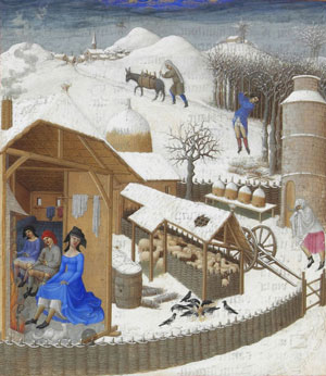 February, from the Tres Riches Heures du Duc de Berry (1416 AD, now in Chantilly)