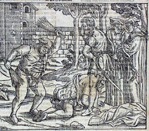 Catholic beating a Protestant in England (Foxe, about 1550 AD)