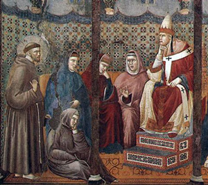 Francis meets Pope Honorius (Giotto)
