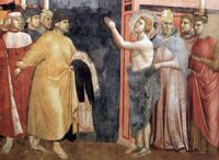 Francis gives his father back his clothes: a fresco painting