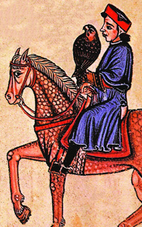 Frederick II, a white man riding on a horse