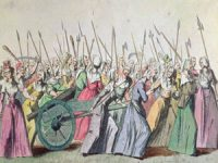 French women revolutionaries march on the king's palace at Versailles