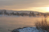 The Rhine river, frozen over