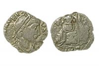 A silver coin issued by Gaiseric, imitating coins of Honorius
