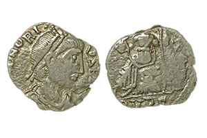 A silver coin issued by Gaiseric,imitating coins of Honorius
