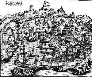 Medieval drawing of the city of Genoa (1493)