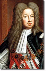 A sour looking white man with a big curly brown wig on, wearing a fancy outfit: George I of Hanoverian England.