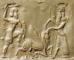 Gilgamesh and his friend Enkidu fight the monster Humbaba, on an Assyrian cylinder seal from the 600s BC