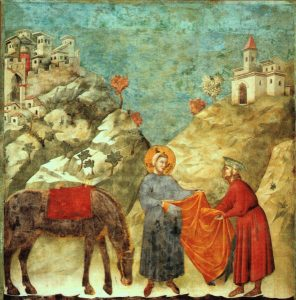 St. Francis giving away his cloak, from Assisi, Italy, by Giotto