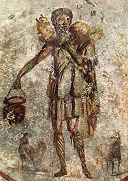 One of the earliest images of Jesus, from St. Callisto catacomb in Rome (ca. 250 AD)