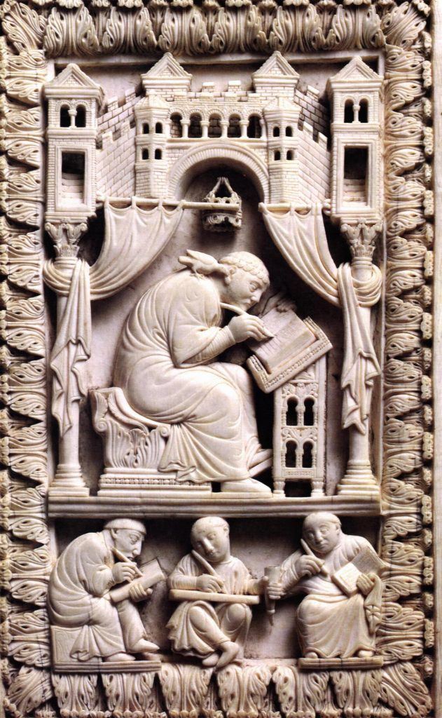 Pope Gregory the Great writing, in ivory carving