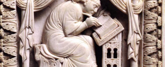 Pope Gregory the Great writing, from the 900s AD. Ivory, probably from Kenya. (Now in Vienna Kunsthistorisches Museum)