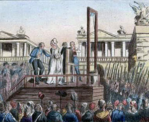 A woman being guillotined (killed)