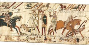 """Harold Rex interfectus est"" - King Harold is killed (Bayeux Tapestry, 1070s AD) (Compare to a 1040 Seljuk image of a battle)"