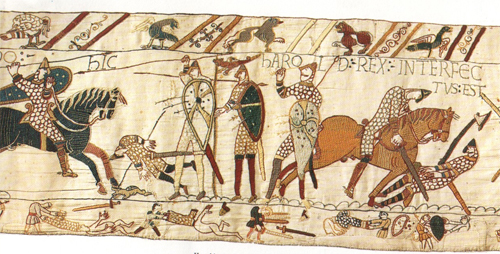 """""""Harold Rex interfectus est"""" - King Harold is killed(Bayeux Tapestry, 1070s AD)(Compare to a 1040 Seljuk image of a battle)"""