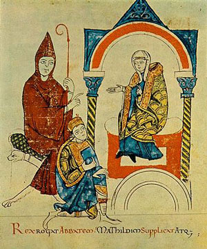 Henry kneels before Matilda of Canossa