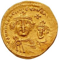 A gold coin of Heraclius and his son.