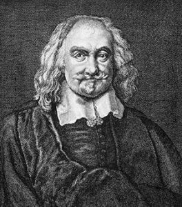 Thomas Hobbes, a etching of a middle-aged man with longish hair in a big white collar