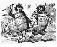 A cartoon from the 1850s unfairly shows Irish and German immigrants as alcoholics