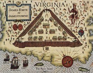 Jamestown: a small triangular fort on a point of land, with a few houses inside