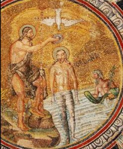John the Baptist baptizes Jesus, in a mosaic. The river god of the river Jordan looks on.