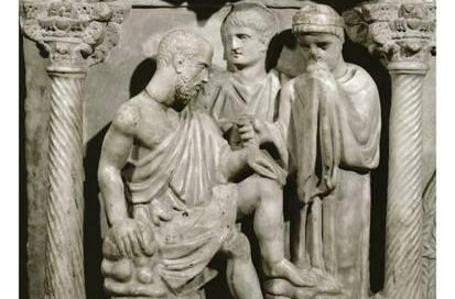 Job sits on a dungheap, from the sarcophagus of Junius Bassus, 359 AD, Rome.