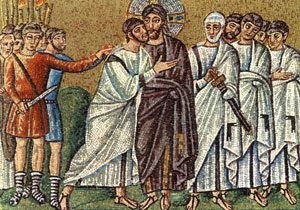 Judas betrays Jesus with a kiss (mosaic from Ravenna, 500s AD)