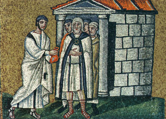 Mosaic of Judas giving money to another man