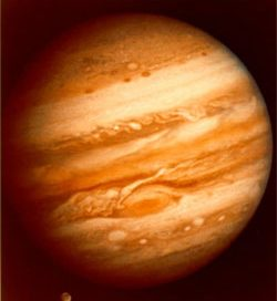 Jupiter - a round red ball with stripes