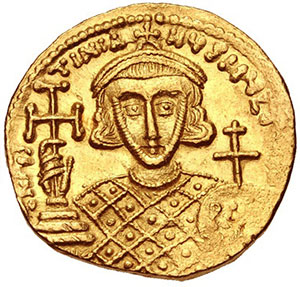 Justinian II on a gold coin from his second reign