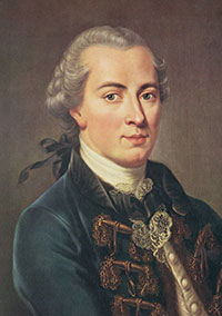 Kant: a middle-aged thin man with gray hair pulled back in a pigtail and a velvet jacket on