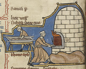 Men baking bread: medieval food